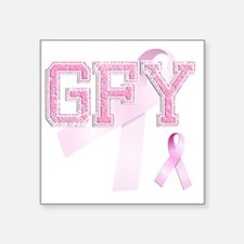 "GFY initials, Pink Ribbon, Square Sticker 3"" x 3"""