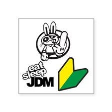"Eat Sleep JDM Bunny Square Sticker 3"" x 3"""