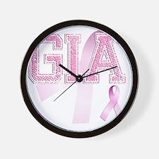 GIA initials, Pink Ribbon, Wall Clock