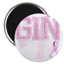 GIN initials, Pink Ribbon, Magnet