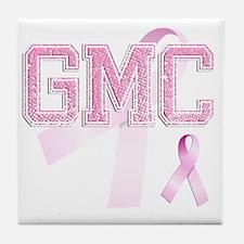 GMC initials, Pink Ribbon, Tile Coaster