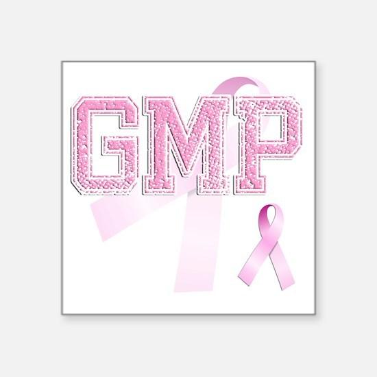 "GMP initials, Pink Ribbon, Square Sticker 3"" x 3"""