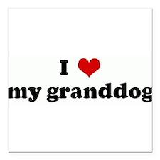 """Cute I love my granddog Square Car Magnet 3"""" x 3"""""""