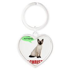 Kitty Christmas Heart Keychain