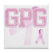 GPG initials, Pink Ribbon, Tile Coaster
