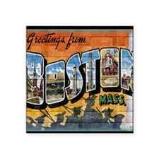 "Greetings from Boston Square Sticker 3"" x 3"""