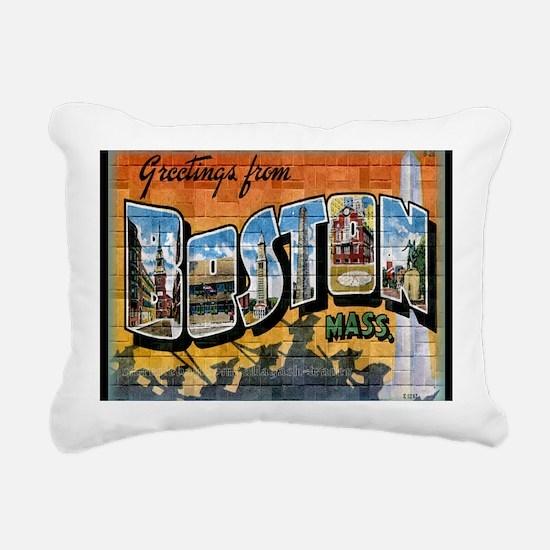 Greetings from Boston Rectangular Canvas Pillow