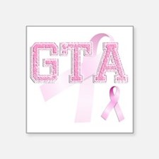 "GTA initials, Pink Ribbon, Square Sticker 3"" x 3"""