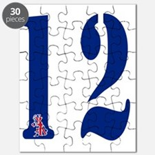 white blue british number 12 Puzzle