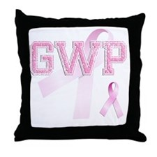 GWP initials, Pink Ribbon, Throw Pillow