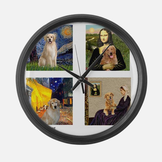 T-FamousArt-w-4-Goldens-clear Large Wall Clock