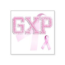 "GXP initials, Pink Ribbon, Square Sticker 3"" x 3"""
