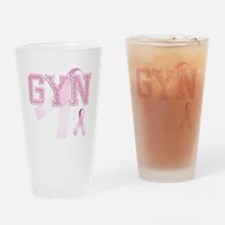 GYN initials, Pink Ribbon, Drinking Glass