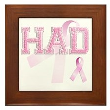 HAD initials, Pink Ribbon, Framed Tile