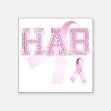 """HAB initials, Pink Ribbon, Square Sticker 3"""" x 3"""""""