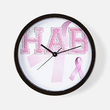 HAB initials, Pink Ribbon, Wall Clock