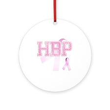 HBP initials, Pink Ribbon, Round Ornament