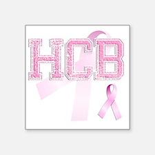"HCB initials, Pink Ribbon, Square Sticker 3"" x 3"""