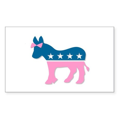 ::: Democratic Donkey Pink/Blue ::: Sticker (Recta