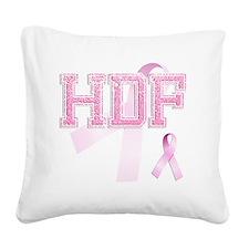 HDF initials, Pink Ribbon, Square Canvas Pillow