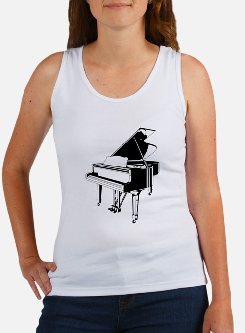 Black And White Piano Tank Top