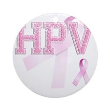 HPV initials, Pink Ribbon, Round Ornament