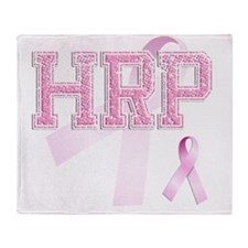 HRP initials, Pink Ribbon, Throw Blanket