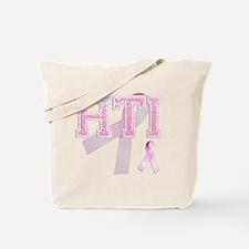 HTI initials, Pink Ribbon, Tote Bag
