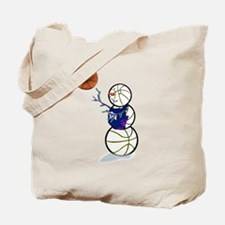 Basketball Snowman Tote Bag