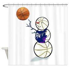Basketball Snowman Shower Curtain