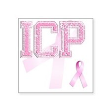 "ICP initials, Pink Ribbon, Square Sticker 3"" x 3"""