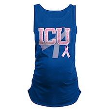 ICU initials, Pink Ribbon, Maternity Tank Top