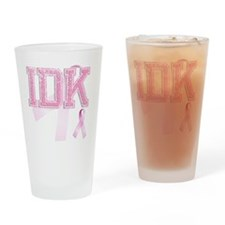 IDK initials, Pink Ribbon, Drinking Glass
