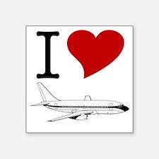 """I Love Planes Square Sticker 3"""" x 3"""""""