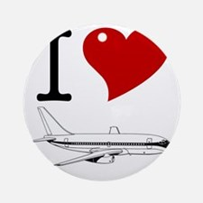 I Love Planes Round Ornament