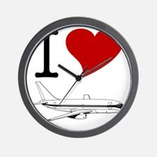 I Love Planes Wall Clock