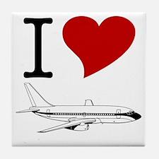 I Love Planes Tile Coaster