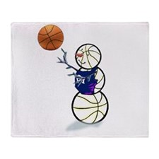 Basketball Snowman Throw Blanket