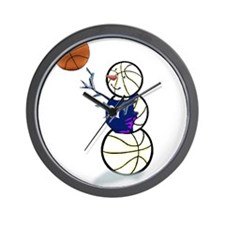 Basketball Snowman Wall Clock