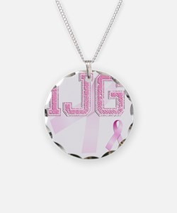 IJG initials, Pink Ribbon, Necklace