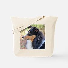 Tri-Color Sheltie Head Tote Bag