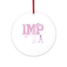IMP initials, Pink Ribbon, Round Ornament