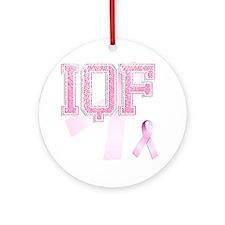 IQF initials, Pink Ribbon, Round Ornament