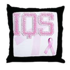 IQS initials, Pink Ribbon, Throw Pillow