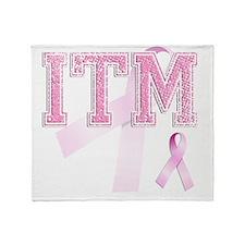 ITM initials, Pink Ribbon, Throw Blanket