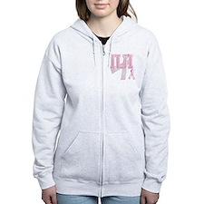 IUI initials, Pink Ribbon, Zip Hoodie