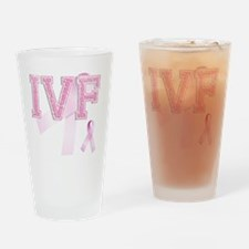 IVF initials, Pink Ribbon, Drinking Glass
