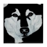 Malamute Black & White Tile Coaster