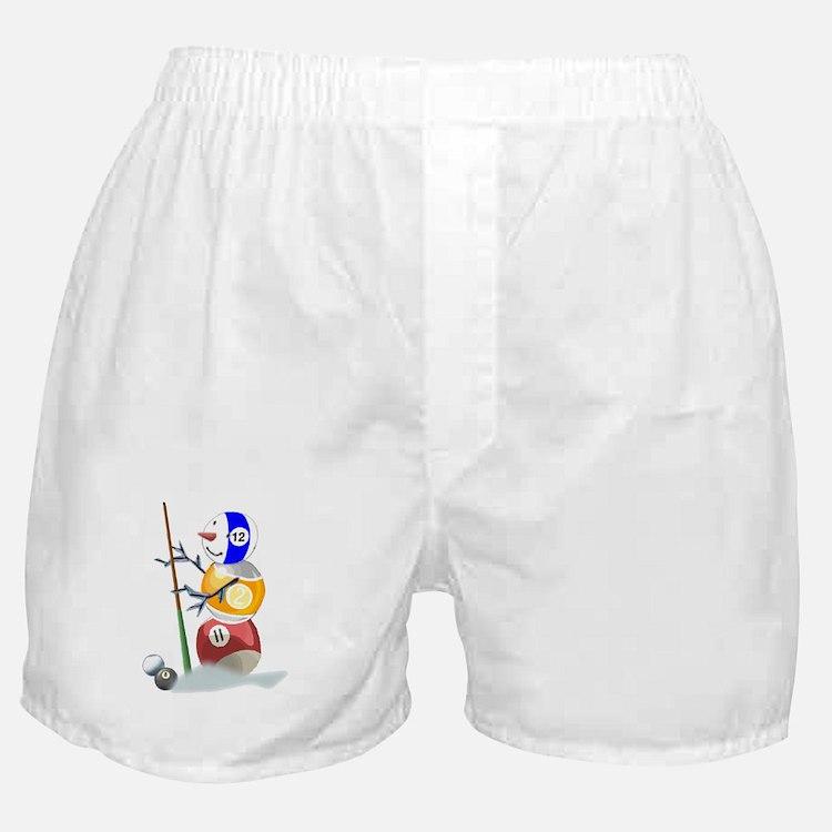 Billiards Ball Snowman Boxer Shorts