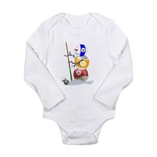 Billiards Ball Snowman Long Sleeve Infant Bodysuit
